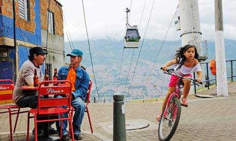 street cafe near cable car in Medellin, Colombia